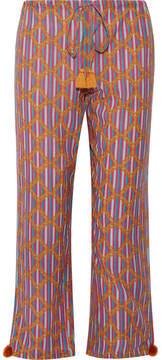 Figue Goa Printed Cotton-blend Wide-leg Pants - Pink