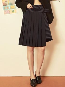Blank Pleats Layered Skirt-nv