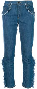 Moschino frayed ruffle trim jeans