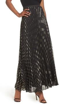 Eliza J Women's Metallic Detail Pleated Chiffon Maxi Skirt
