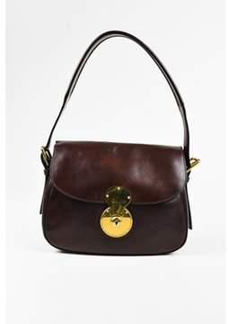Ralph Lauren Pre-owned Brown Calfskin Leather Medium ricky Cartridge Flap Bag.