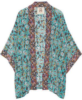 Figue Tokiko Floral-print Silk Crepe De Chine Kimono - Turquoise