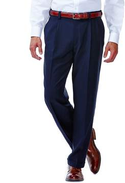 Haggar Men's eCLoTM Stria No-Iron Classic-Fit Pleated Comfort Waist Dress Pants