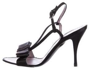 Alberta Ferretti Bow-Embellished Satin Sandals