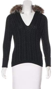 Andrew Gn Silver Fox-Trimmed Knit Top