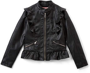 Urban Republic Black Ruffle Faux Leather Jacket - Infant & Girls
