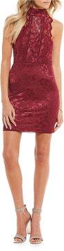 B. Darlin Mock Neck Lace Sheath Dress