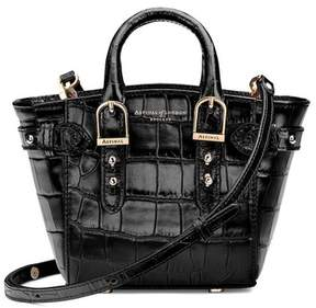 Aspinal of London Micro Marylebone Tote In Deep Shine Black Croc