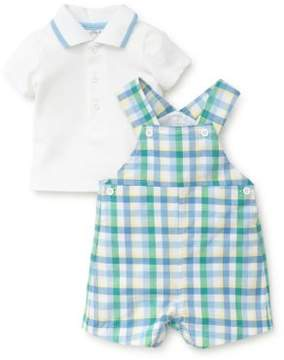 Little Me Baby Boy's Two-Piece Cotton Polo and Plaid Shortall Set