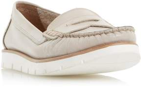 Dune London GARDEN - PALE GREY White Cleated Sole Penny Loafer Shoe