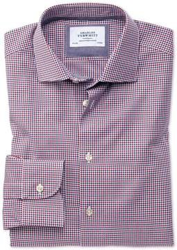 Charles Tyrwhitt Extra Slim Fit Semi-Spread Collar Business Casual Gingham Red and Navy Cotton Dress Shirt Single Cuff Size 14.5/32