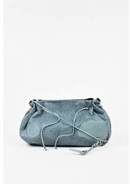 Carlos Falchi Pre-owned Blue Green Genuine Python Drawstring Shoulder Bag.