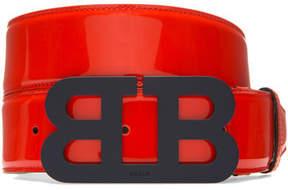 Bally Mirror B Leather Belt, Red