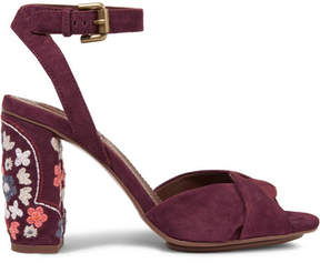 See by Chloe Embroidered Suede Sandals - Burgundy
