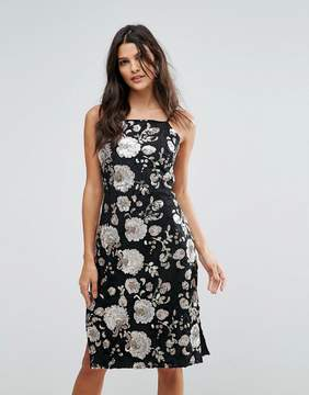 Goldie Metallic Floral Sequin Midi Dress