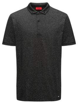 HUGO Boss Cotton Blend Polo Shirt, Regular Fit Deleton XS Black