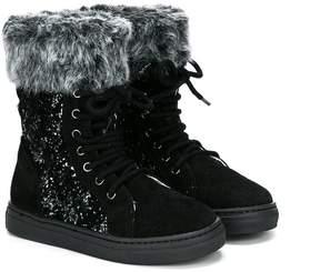 Stuart Weitzman faux fur glitter boots