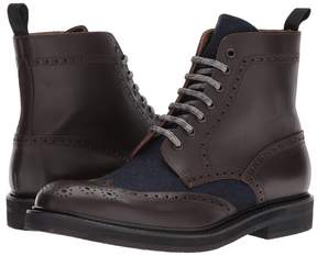 Eleventy Leather/Flannel Wingtip Boot