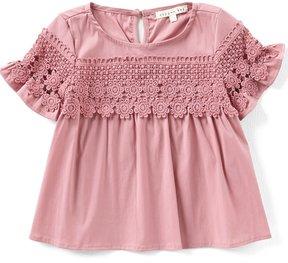 Copper Key Little Girls 4-6X Woven Lace-Sleeve Top