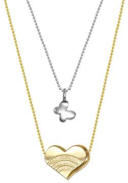 Alex Woo Sterling Silver & 14K Yellow Gold Mini Butterfly & Heart Pendant Necklace - Set of 2