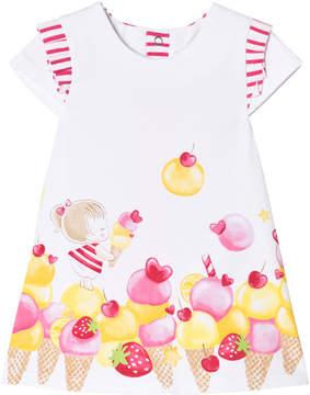 Mayoral White and Ice Cream Print Dress with Striped Back