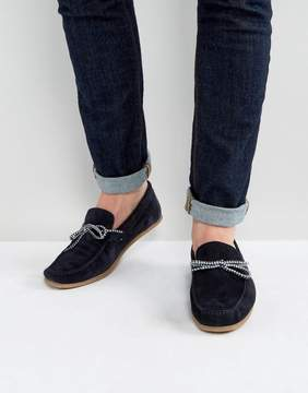 Asos Driving Shoes In Navy Suede With Contrast Lace