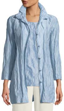 Caroline Rose Ruched-Collar Crinkled Jacket