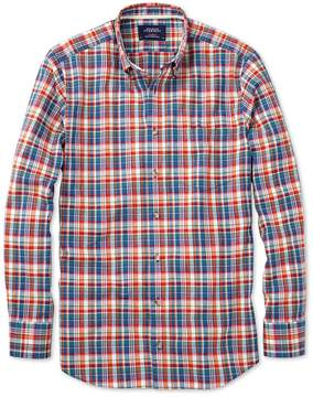 Charles Tyrwhitt Slim Fit Orange and Blue Check Cotton Casual Shirt Single Cuff Size Medium