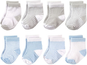Hudson Baby Blue & Gray Eight-Pair Socks Set - Infant