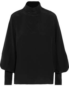 Bassike Silk Crepe De Chine Turtleneck Top - Black