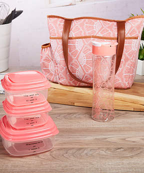 Fit & Fresh Coral Shell Pleasantview Insulated Lunch Tote Set