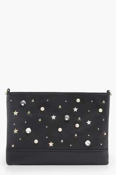 boohoo Pearl Stud And Diamante Clutch