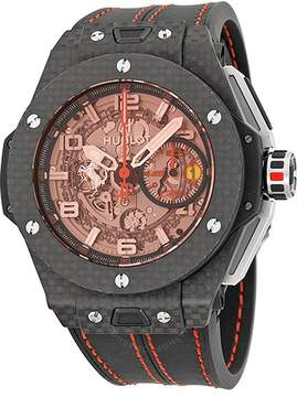Hublot Ferrari Carbon Red Magic Automatic Openwork Dial Black Carbon Fiber Men's Watch