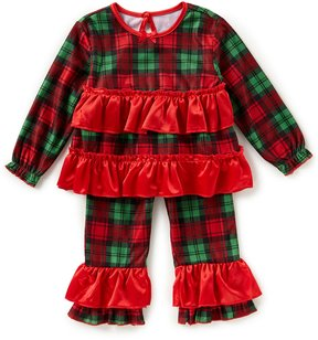 Baby Starters Baby Girls 12-24 Months Christmas Plaid Ruffle Top & Ruffle Pajama Set