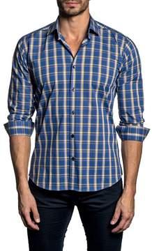 Jared Lang Long Sleeve Check Trim Fit Woven Shirt