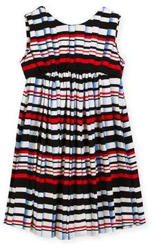 Helena Stripe Pleat-Print Knit Dress, Size 4-6