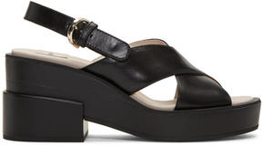 Jil Sander Navy Black Chunky Criss-Cross Sandals