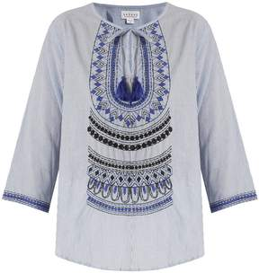 Velvet by Graham & Spencer Mallory embroidered striped cotton top