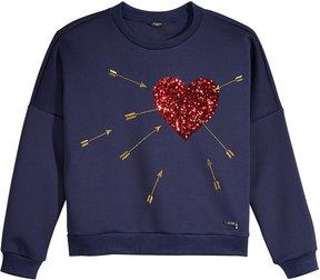 GUESS Sequin-Heart Scuba Sweater, Big Girls (7-16)