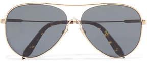 Victoria Beckham Loop Aviator-style Gold-tone Sunglasses