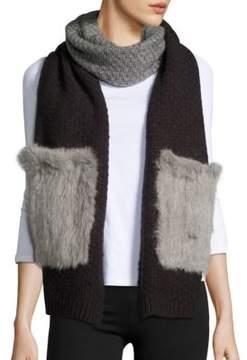 La Fiorentina Rabbit Fur-Accented Wool-Blend Scarf