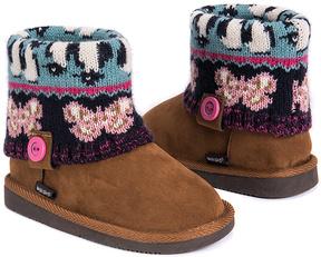 Muk Luks Brown & Pink Butterfly Button Patti Boot - Kids