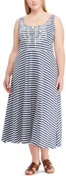 Chaps Plus Size Stripe Lace-Up Dress