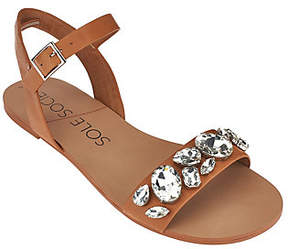 Sole Society As Is Leather Quarter Strap Sandals - Gemma