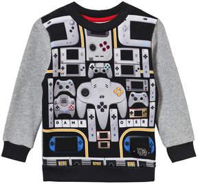 Molo Grey And Black Console Print Sweater
