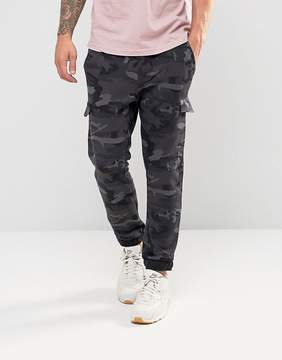 Pull&Bear Cargo Joggers In Blue Camo