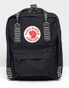 Fjallraven Mini Kanken Black Backpack With Contrast Stripes