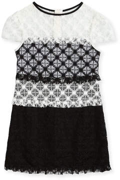Milly Minis Gabrielle Short-Sleeve Colorblock Lace Dress, Size 4-7