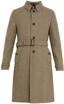Prada Single-breasted micro-checked wool overcoat