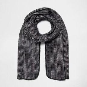 River Island Womens Black herringbone print reversible knit scarf